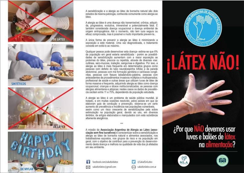 Folder de divulgação da Semana de Conscientização sobre a Alergia ao Látex, feito pela Asociación Argentina de Alergia al Látex em parceria com o SLA.
